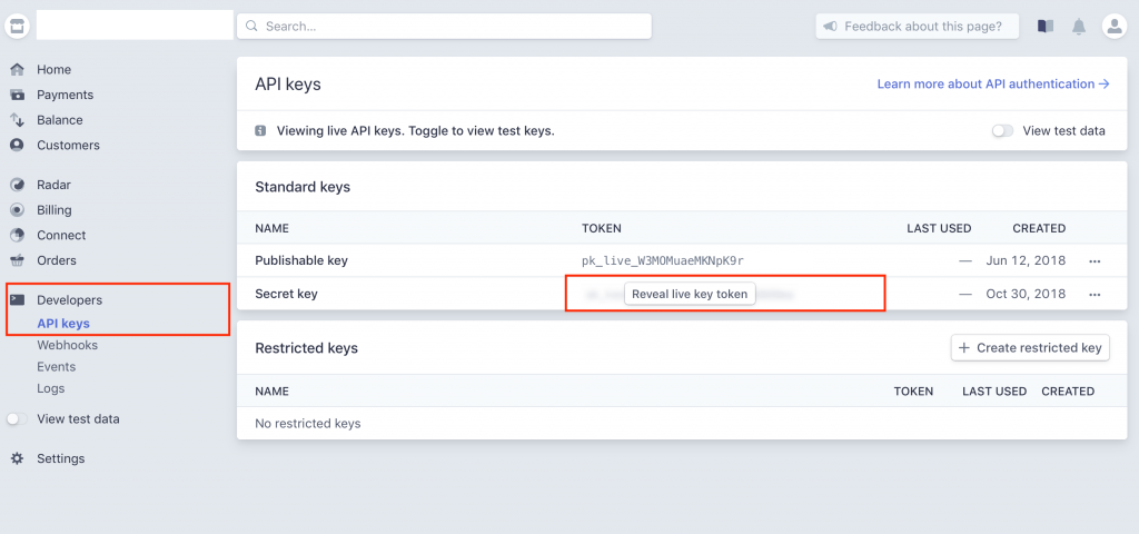 Clé API du compte Stripe